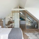 Bedroom, Wooden Floor, White Wall, White Vaulted Ceiling, Wooden Headboard, Home Office
