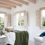 Bedroom, Wooden Floor, White Wall, Wooden Beams, Wooden Windows, White Chair, Side Table