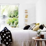 Bedroom, Wooden Floor, White Wall, Wooden Side Table, Bed, Pillows, White Shelves