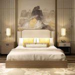 Bedroom, Wooden Floor, Wooden Bed Platform, Wooden Cabinet, Wooden Table, Pendants, White Headboard, Cream Wall