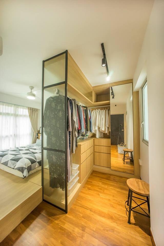 bedroom, wooden floor, wooden cabinet, glass partitio