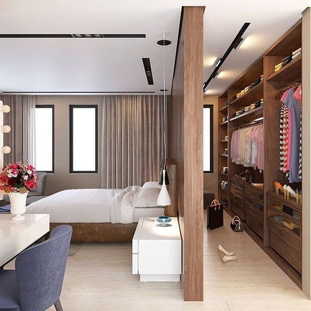 bedroom, wooden long wardrobe with cabinet, white side table