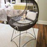 Black Rattan Baby Crib With Curve, Grey Cushion