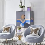 Blue Velvet Chairs With Round Back, White Side Table, White Wall, Wainscoting, Blue Cabinet