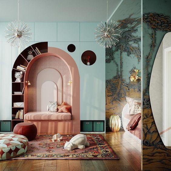 bookshelf, half round shelves around the pink framed indented shelves