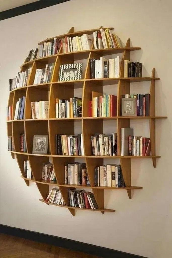 bookshelves, round frames