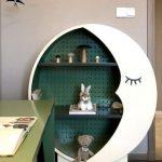 Bookshelves, Round, White, Green Back, Black Boards, White Moon Shape