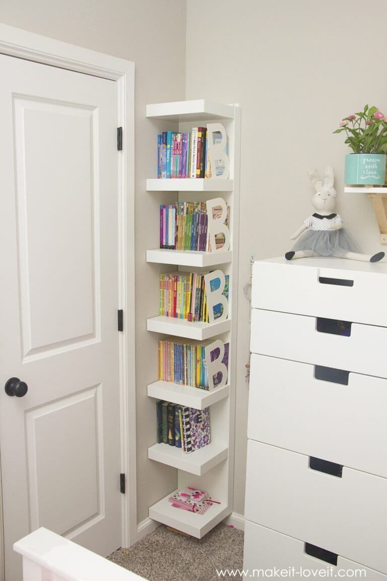corner bookshelves with white boards, and B ends