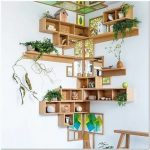 Corner Bookshelves With Wooden Box And Boards