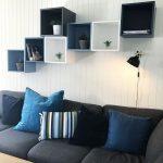 Decorative Shelves, Blue White Black Square Floating Boxes, Grey Sofa, White Wooden Wall