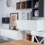 Decorative Shelves, White Long Cabinets, Black Brown White Square Boxes