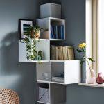 Decorative Shelves, White Square Boxes In The Corner