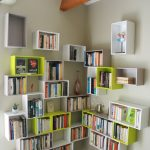Decorative Shelves, White Yellow Boxes In The Corner