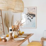 Dining Room, Cream Marble Floor, White Wall, Rattan Pendants, Wooden Table, Woode Benches, Rattan Rug
