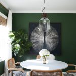 Dining Room, Green Wall, White Round Table, Wooden Chairs, Clear Pendant
