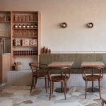 Dining Room, Marble Floor, White Wall, White Bench With Green Cushion, Wooden Shelves, Wooden Table, Brown Chairs