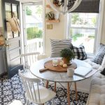 Dining Room, Patterned Floor, White Corner Bench, White Cushion, White Chair, White Marble Round Table, Pillows
