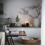 Dining Room, Stone Floor Tiles, White Wall, Built In Shelves, Wooden Table