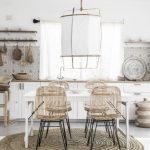 Dining Room, White Floor, Rattan Round Rug, White Wall, White Lantern, White Wooden Table, Rattan Chairs