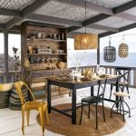 Dining Room, White Wooden Floors, Black Wooden Table, Rattan Rug, Yellow Chair, Black Chairs, Wooden Cabinet