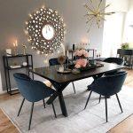 Dining Room, Wooden Floor, Grey Wall, Black Dining Table, Black Chairs, Modern Pendant, Black Shelves, Grey Rug