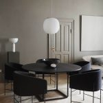 Dining Room, Wooden Floor, Grey Wall, Detailed Ceiling, Black Round Dining Table, Black Chairs, White Pendant