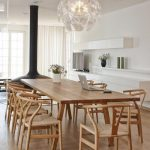 Dining Room, Wooden Floor, White Wall, White Cabinet, Wooden Long Rectangular Table, Wooden Chairs, Mdoern Pendant