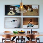 Dining Room, Wooden Floor, White Wall, Wooden Dinign Table, Wooden Chairs, Pendant