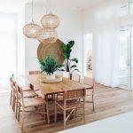 Dining Room, Wooden Floor, Wooden Rectangular Table, Wooden Chairs, Rattan Pendants