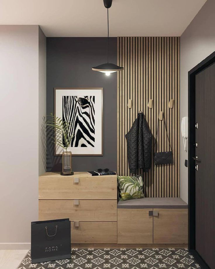 entrance, patterned floor, grey wall, wooden grid, black pendant, wooden cabinet