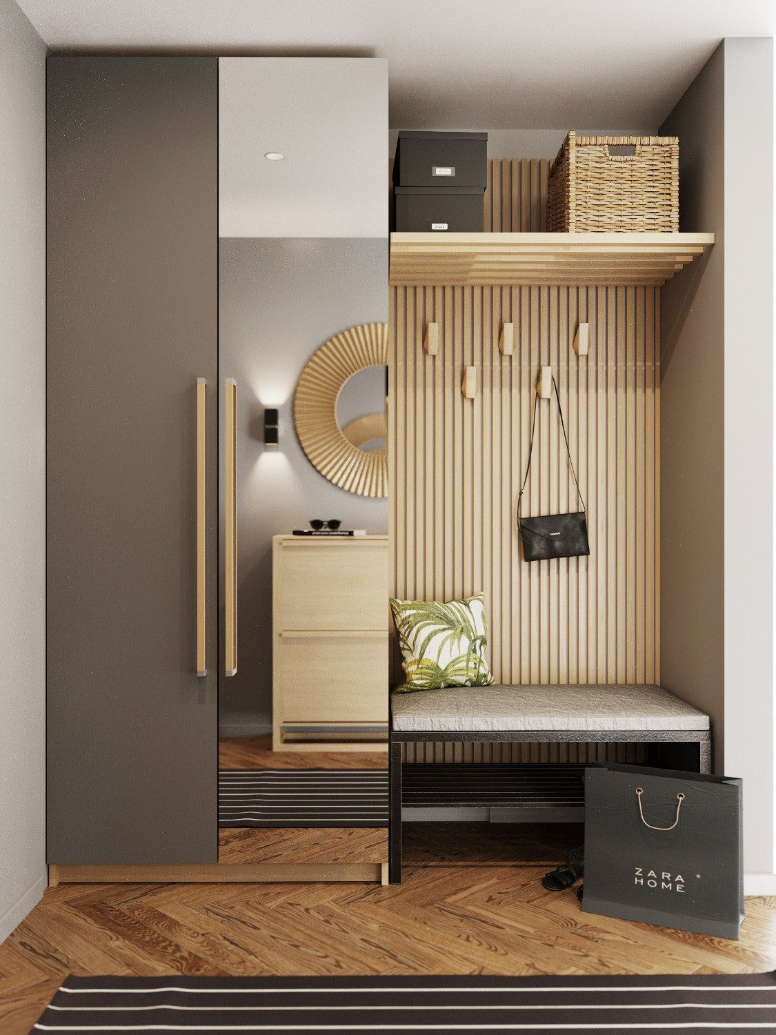 entrance, wooden floor, wooden grid wall, wooden shelvs, black bench, mirror cabinet
