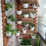 Floating Wooden Grid For Vertical Garden, White Plant Pots