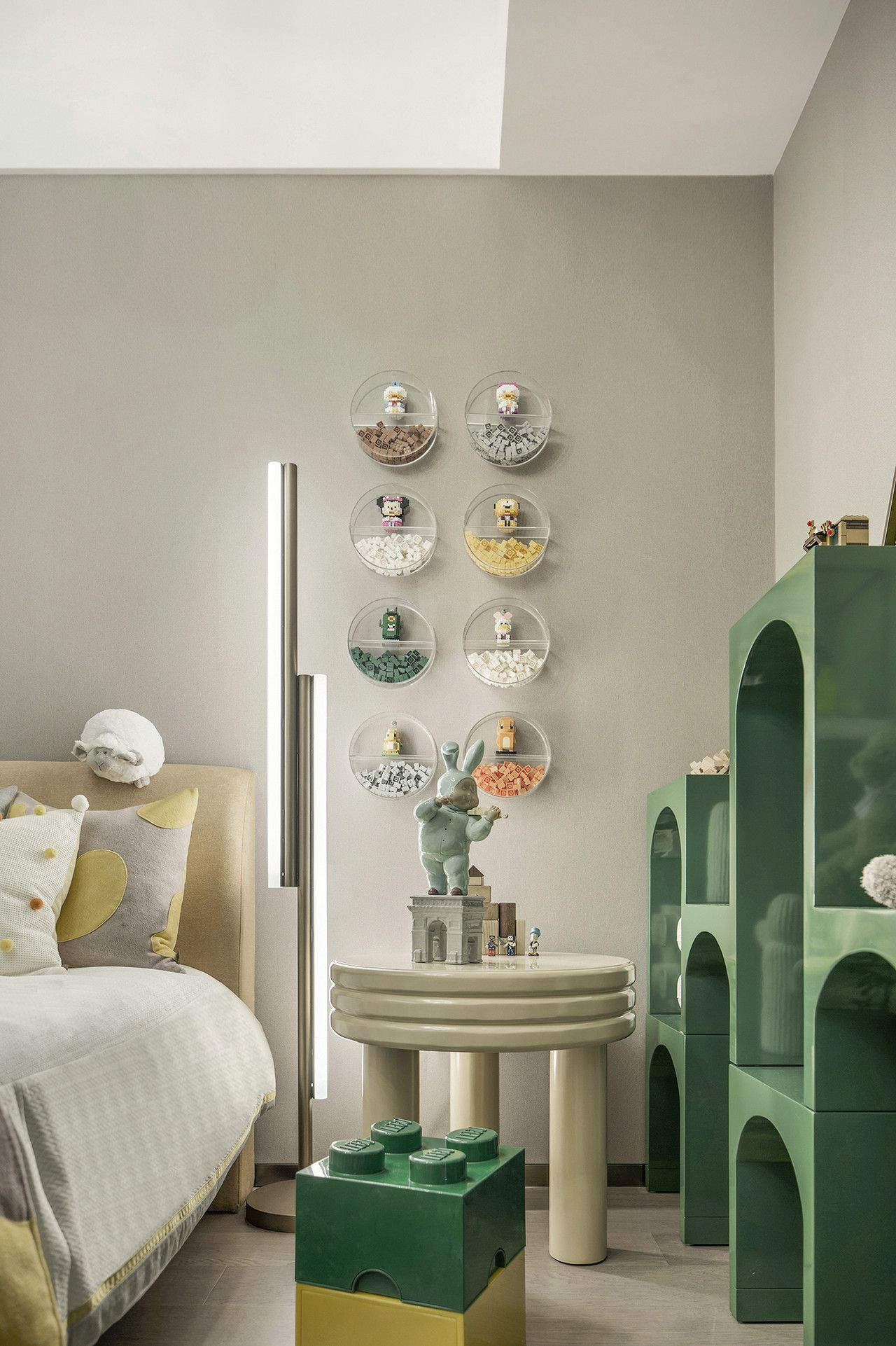 green bookshelves with curved frame