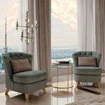 Green Velvet Chairs, Golden Side Table, Brown Marble Floor, Floor Lamp, White Curtain