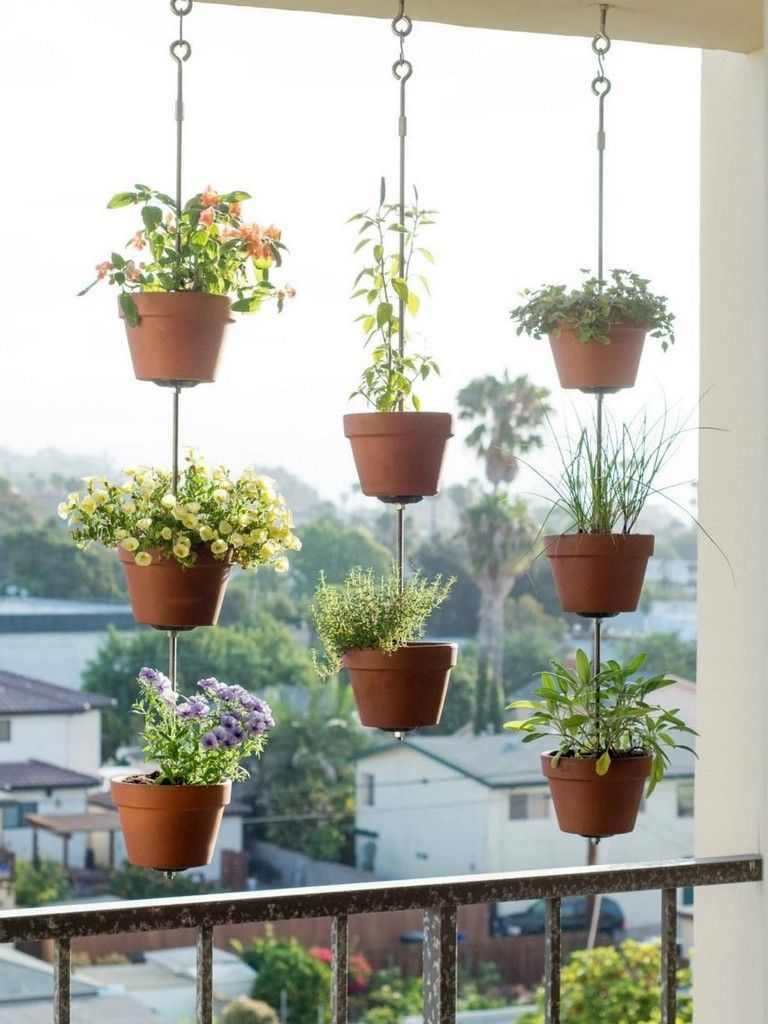 hanging plants pot on the fence