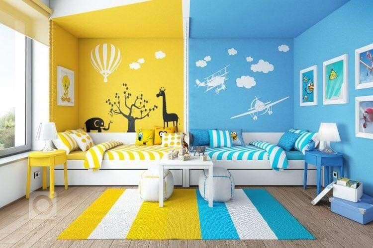 kid room, blue side with blue wall, yellow side with yellow wall, white bed platform, blue side table, yellow side table