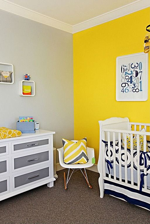 kid room, grey wall, yellow wall, white grey cabinet, white rocking chair, white crib