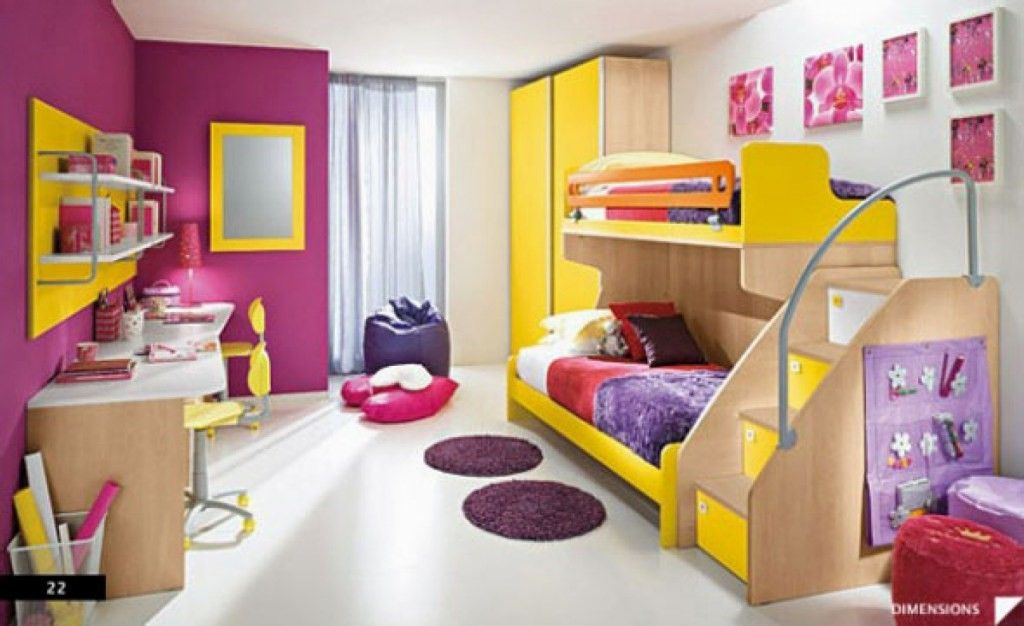 kid room, white floor, purple wall, white wall, wooden modern bunk bed, wooden table, yellow floating shelves area