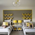 Kid Room, White Wall, Grey Accent Wall With Yellow Zigzag Floating Shelves, White Grey Beds With White Side Tables, Yellow Table Lamp, Clear Glass Pendants