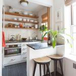 Kitchen, Black Floor Tiles, White Subway Backsplash, Wooden Floating Shelves, White Bottom Cabinet, Black Stools