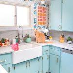 Kitchen, Blue Cabinet, White Top, White Apron Sink, Patterned Wall, White Marble Backsplash