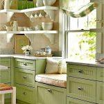 Kitchen, Brown Floor, Green Wooden Cabinet, Wooden Wall, White Wooden Corner Shelves, Window Nook, Green Curtain