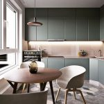 Kitchen, Geometrical Floor Tiles, White Wall, Green Cabinet, White Backsplash, Pendant, Round Wooden Table, Whte Modern Chairs