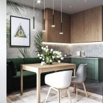 Kitchen, Grey Floor Tiles, Wooden Upper Cabinet, Green Bottom Cabinet, Green Built In Sofa, Wooden Table, White Chairs