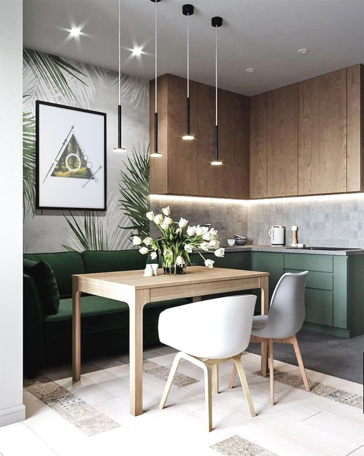 kitchen, grey floor tiles, wooden upper cabinet, green bottom cabinet, green built in sofa, wooden table, white chairs