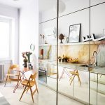Kitchen, Marble Backsplash, White Wall, Mirror Cabinet, Wooden Chairs And Table