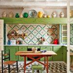Kitchen, Patterned Geometrical Floor Tiles, White Wooden Ceiling, Green Wooden Cabinet, Green Patterned Backsplash, Wooden Table, Wooden Stool