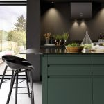 Kitchen, White Floor, Black Wall, Black Bottom Cabinet, Dark Green Island With Black Top, Black Stools