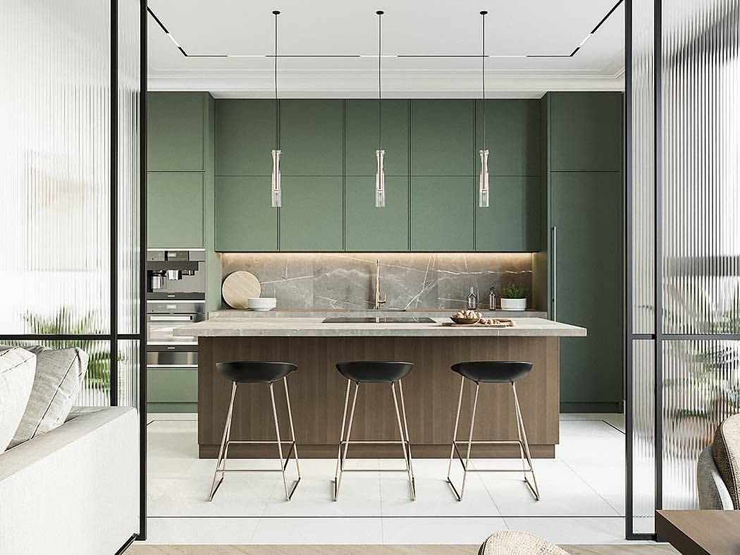 kitchen, white floor, green cabinet, wooden island, pendants, black stools