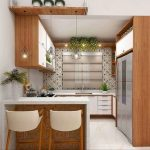 Kitchen, White Floor, White Wall, Patterned Accent Wall, Wooden White Floating Cabinet, Modern Framed Pendant, White Stools
